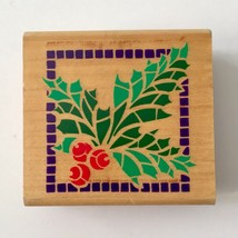 Rubber Stampede Art Deco HOLLY & BERRIES Rubber Stamp Holiday Christmas ... - $3.47