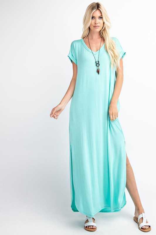 Short Sleeve Side Split Maxi Dress