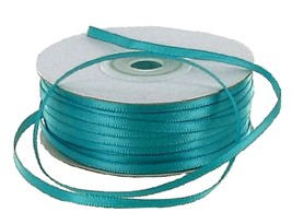 Double Face Satin Ribbon 100% Polyester 1/8 inch x 100 yds. - Tropical Blue     - $3.91