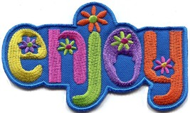 ENJOY retro hippie 70s love peace embroidered applique iron-on patch S-1408 - $2.95