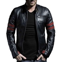 Hand stitch Men's Black & Red Leather Jackets Men's Outwear Biker Leathe... - $139.99+