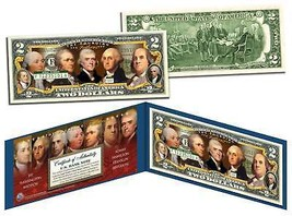 FOUNDING FATHERS OF THE UNITED STATES Colorized Obverse $2 Bill US Legal... - $13.81
