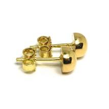 Yellow Gold Earrings 750 18K, half Sphere, Diameter 8 MM image 2