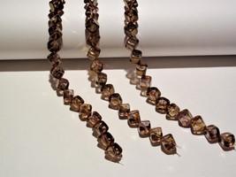 25 8 mm Czech Glass Diagonal Hole Cubes: Luster - Transparent Gold/Smoke... - $2.31