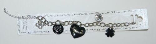 Boutique Collection BR218 2090 Charm Bracelet Heart Shamrock Silver Black