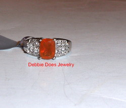 Orange Fire Opal Cushion Solitaire (AA) & W Topaz Ring, Silver, Size 7, ... - $58.50