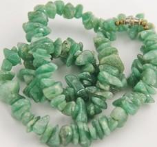 "20"" VINTAGE Jewelry CHUNKY AVENTURINE GRADUATED NUGGET BEAD NECKLACE - 8... - $25.00"