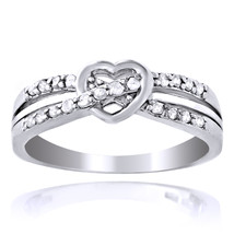 1/5ct Diamond Twist & Heart Promise Ring 925 Silver - $34.48