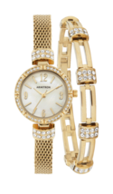 Gold-Tone Watch and Bracelet Set with Swarovski Crystals - $69.27