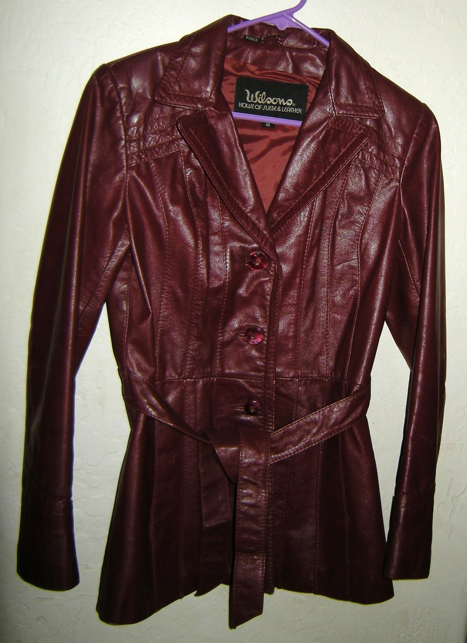 Primary image for Wilsons Leather Dark Red Belted Womens Coat Size 8