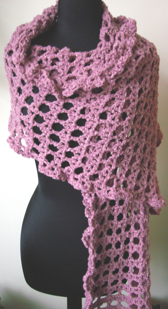 Handmade Crocheted Rose Colored Shawl