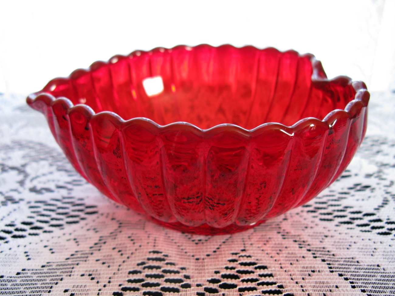 Imperial Glass Ruby Pillar Flute Heart Shaped Bowl