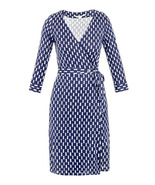 Diane von Furstenberg NEW JULIAN TWO Wrap Dress in SCREENS BLUE size 0 - $259.99