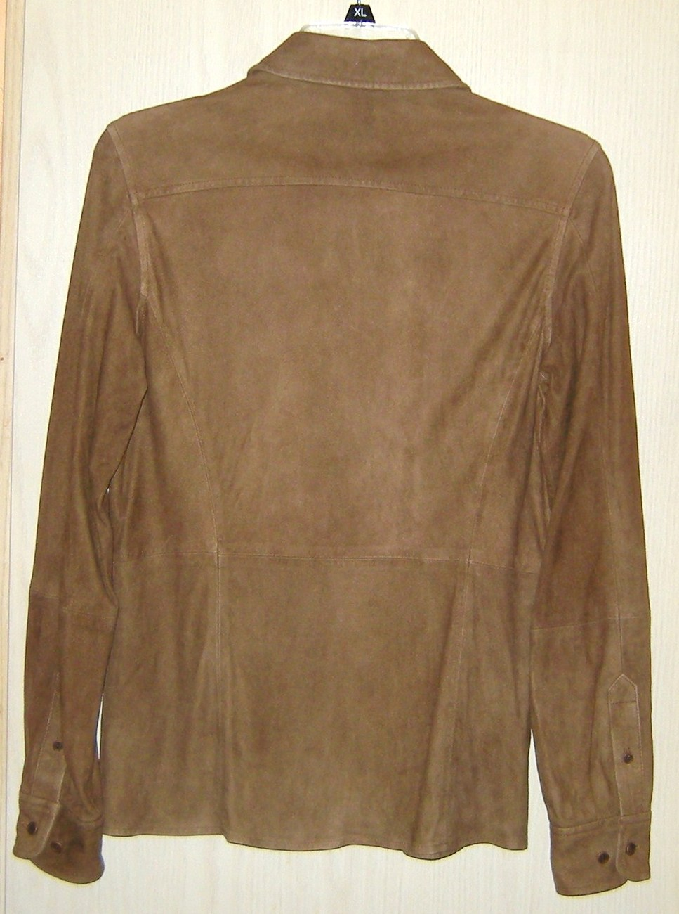 faconnable brown goatskin suede leather womens soft jacket