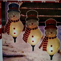 3 CT Pre-Lit Snowman Pathway Markers Christmas Yard Decoration Indoor Ou... - $43.32
