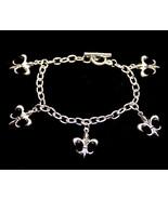 Silver Tone FLEUR DE LIS Charm Bracelet Mardi Gras - $5.95