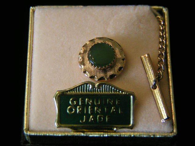 Vintage Genuine Jade Round Tie Tack #2
