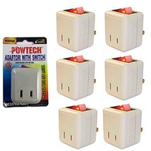 6 Pk x Single Port Outlet Wall Tap Adapter Lighted Switch Power On Off C... - $17.53