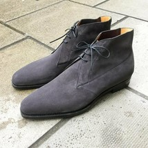 Handmade Men's Gray Suede High Ankle Lace Up Chukka Boots  image 3