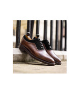 Brown Black Oxfords Leather Suede Shoes, Lace up shoes, Dress Shoes, Men... - $159.97