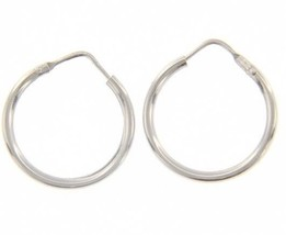 18K WHITE GOLD ROUND CIRCLE EARRINGS DIAMETER 15 MM WIDTH 1.7 MM, MADE IN ITALY image 1