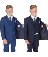 5 Piece Navy Blue Checked Suit Wedding Suit Prom Page Boy Suit Formal 2-... - $36.27+
