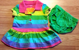 Girl's Size 3 M 0-3 Months Two Piece Carter's Bright Rainbow Striped Dre... - $16.00