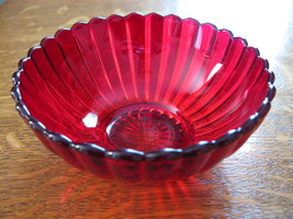 Imperial Glass Ruby Pillar Flute Round Bowl - $18.00