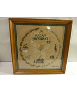 1955 Framed Embroidery Madam President Signed LKH - $161.99