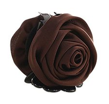Beautiful Satin Artificial Rose Flower Hair Claw Clips Ponytail Jaw Clips, Coffe