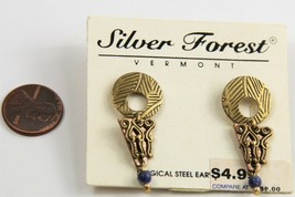 ESTATE VINTAGE Jewelry NOS ON CARD SILVER FOREST VT TRIBAL STAMPED EARRINGS - $8.00