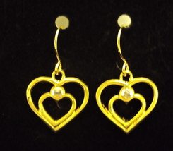 Gold Heart and Crystal Earrings 4764 Square Brand New Free 1st Class Ship - $9.95