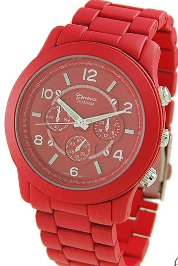 Primary image for RED GENEVA PLATINUM CHRONOGRA[H MATTE FINISH LINK WATCH