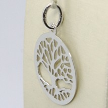 18K WHITE GOLD TREE OF LIFE ROUND FLAT PENDANT CHARM, 1.0 INCHES MADE IN ITALY image 2