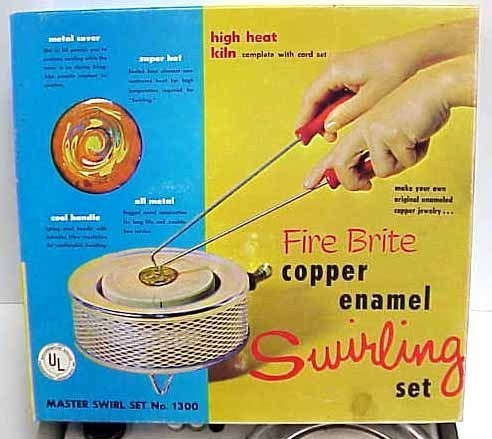 Vintage 1967 Fire Brite Copper Enamel Swirling Kit w/Kiln IOB Swirl Set # 1300