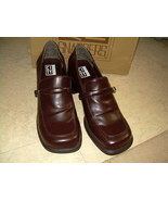 "CITY Snappers Brown Leather Med Heel 2"" Loafer ... - $19.00"