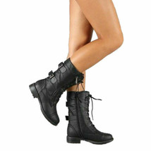 Top Moda Pack-72 Women's Fashion Mid Calf Combat Military Lace Up Side B... - $28.98