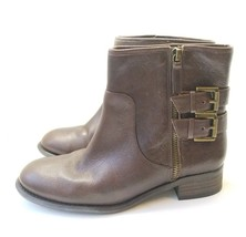 Nine West Side Zip Ankle Bootie Women's Sz 6.5M Brown Leather (tu13) - $17.99