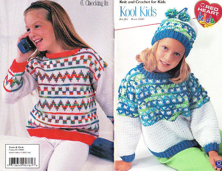 *Kool Kids - Crochet and Knit 6 Children's Sweaters Afghan Patterns