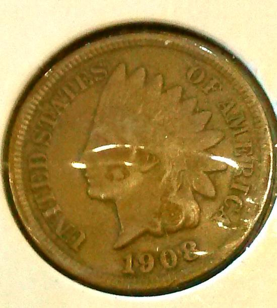 1908 INDIAN HEAD CENT - 107 YR OLD BRONZE - BTR DATE - FULL LIBERTY GRADES VF