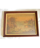 Vintage Antique Large Chromolithograph in Beautiful Walnut Frame - $150.00