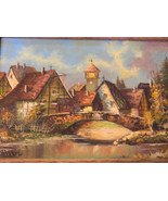 Vintage Detailed Small Oil Painting of Swiss Village by Artist Durr - $250.00