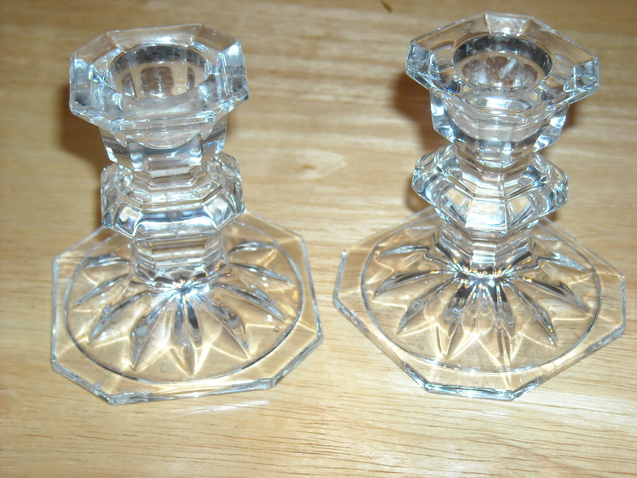 Pair of short candlestick holders depression glass 2