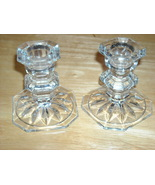Pair of Clear Depression Glass Candlestick Holders - $18.00