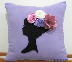 Dreaming Of Spring Black Cameo Purple Pillow Cover. Bridal - $32.50