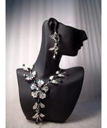 GENUINE AUSTRIAN CRYSTAL FLORAL JEWELRY SET Black & Gray Earrings & Neck... - $12.50