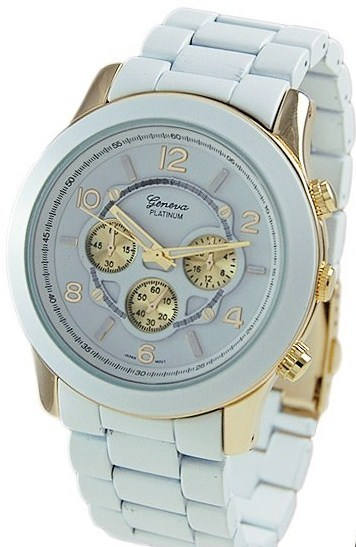 Primary image for WHITE/GOLD GENEVA PLATINUM CHRONOGRA[H MATTE FINISH LINK WATCH