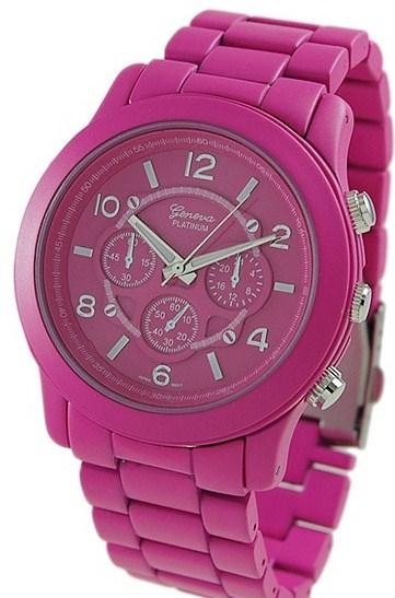 Primary image for PINK  GENEVA PLATINUM CHRONOGRA[H MATTE FINISH LINK WATCH
