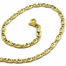 9K GOLD BRACELET TYGER EYE FLAT LINKS 3mm THICKNESS, 19cm, 7.5 INCHES - $69.00