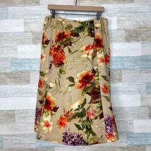 Talbots Silk Wool Floral Midi Skirt Tan Lined Casual Vintage 90s Womens 14  - $39.59